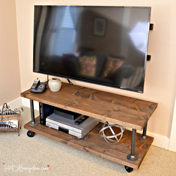 Best ideas about DIY Industrial Tv Stand . Save or Pin DIY Industrial Style Media Stand With Wheels H20Bungalow Now.