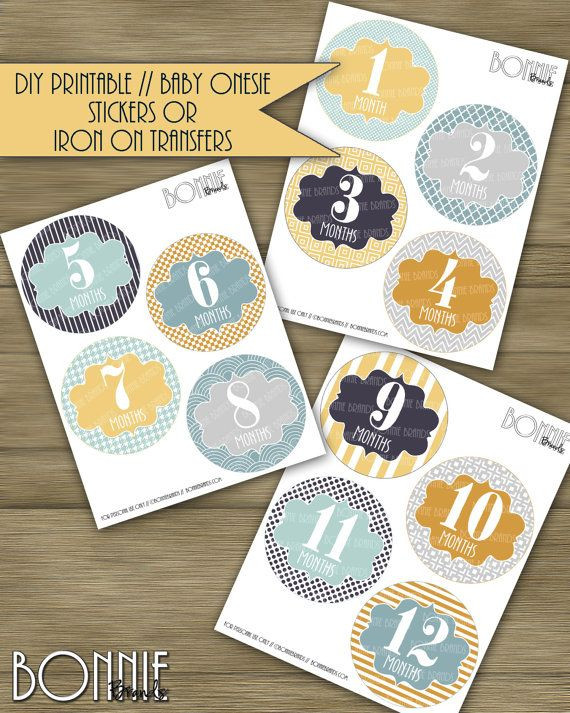Best ideas about DIY Iron On Transfers . Save or Pin PRINTABLE DIY Monthly Baby Stickers or Iron Transfers Now.