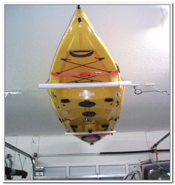 Best ideas about DIY Kayak Rack Ceiling . Save or Pin Kayak Rack PVC pipe nylon rope pulleys rope cleat Now.