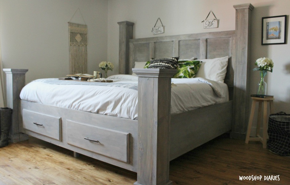 Best ideas about DIY King Bed Frame Plans . Save or Pin DIY Farmhouse Storage Bed Free Woodworking Plans and Now.