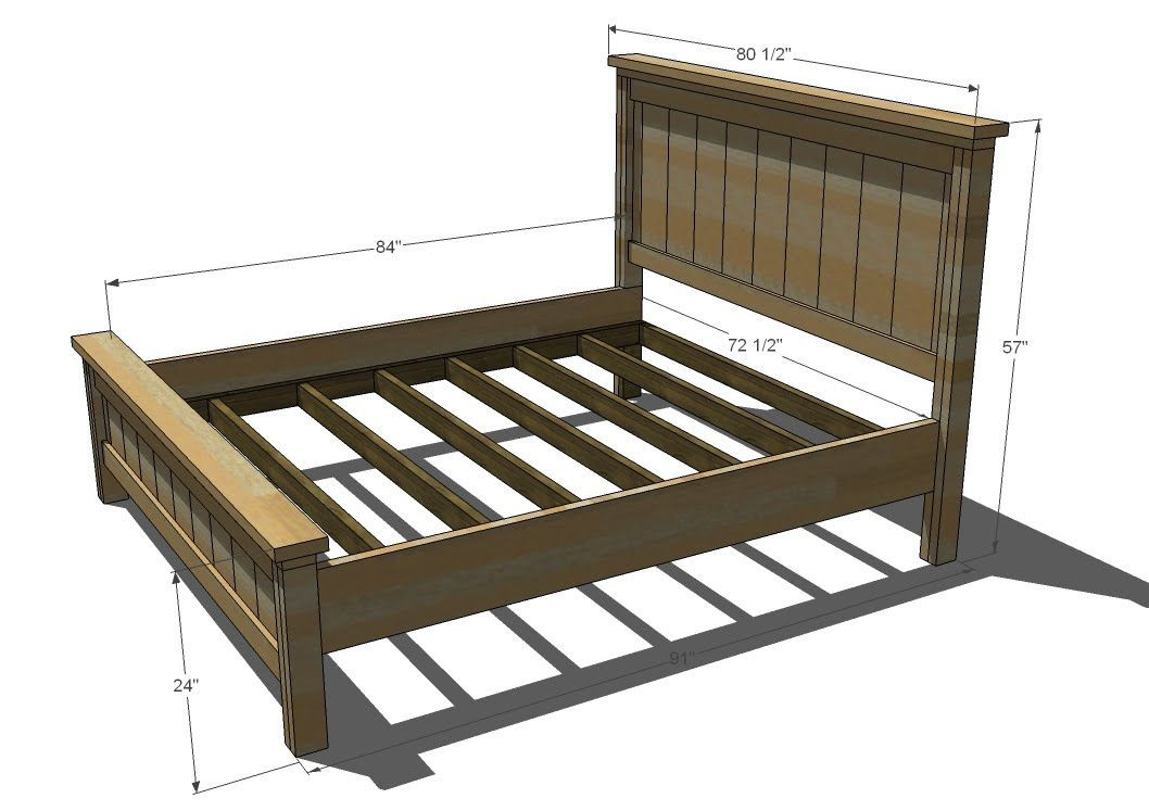 Best ideas about DIY King Size Bed Frame Plans . Save or Pin Ana White Build a Farmhouse Bed Calif King Now.