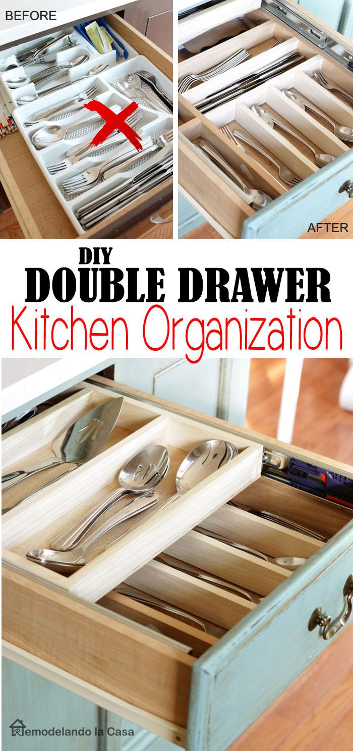 Best ideas about DIY Kitchen Drawers . Save or Pin DIY Double Layer Drawer Organization Remodelando la Casa Now.