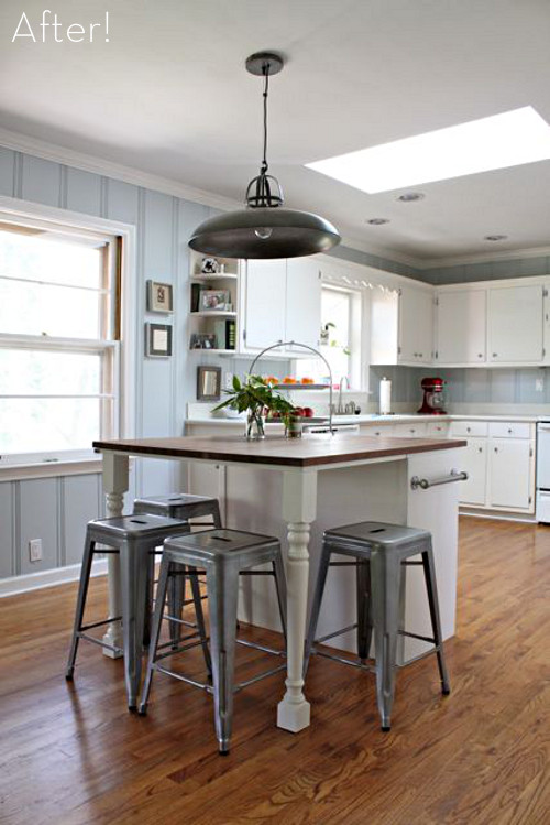 Best ideas about DIY Kitchen Island With Seating . Save or Pin Before & After A DIY Kitchen Island Makeover Curbly Now.