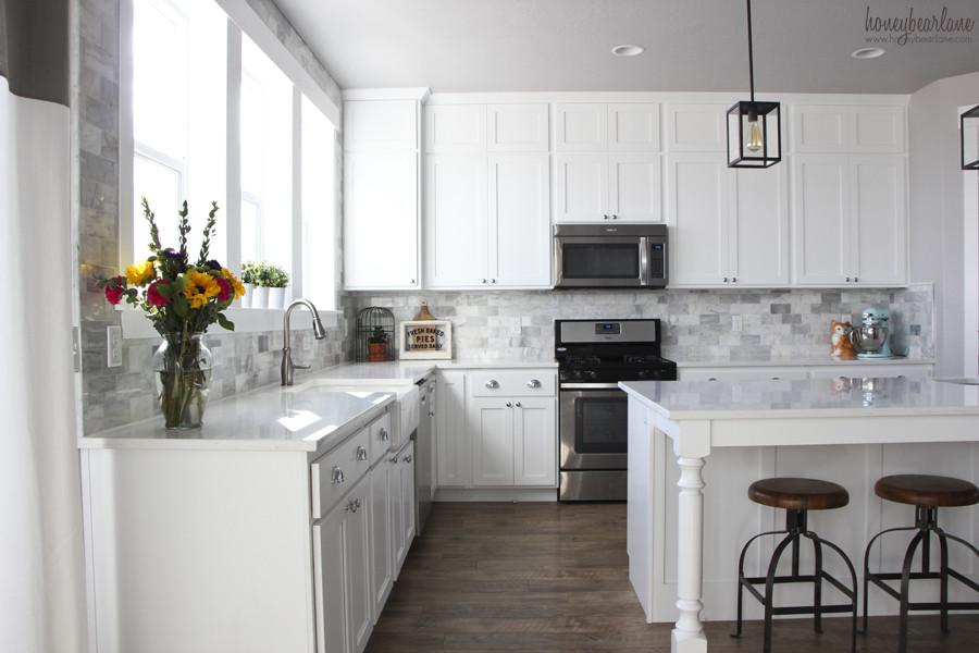 Best ideas about DIY Kitchen Tiling . Save or Pin My DIY Marble Backsplash HoneyBear Lane Now.
