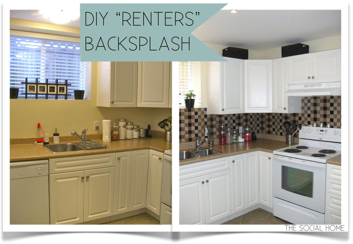 "Best ideas about DIY Kitchen Tiling . Save or Pin DIY ""Renters"" Backsplash with Vinyl Tile Now."