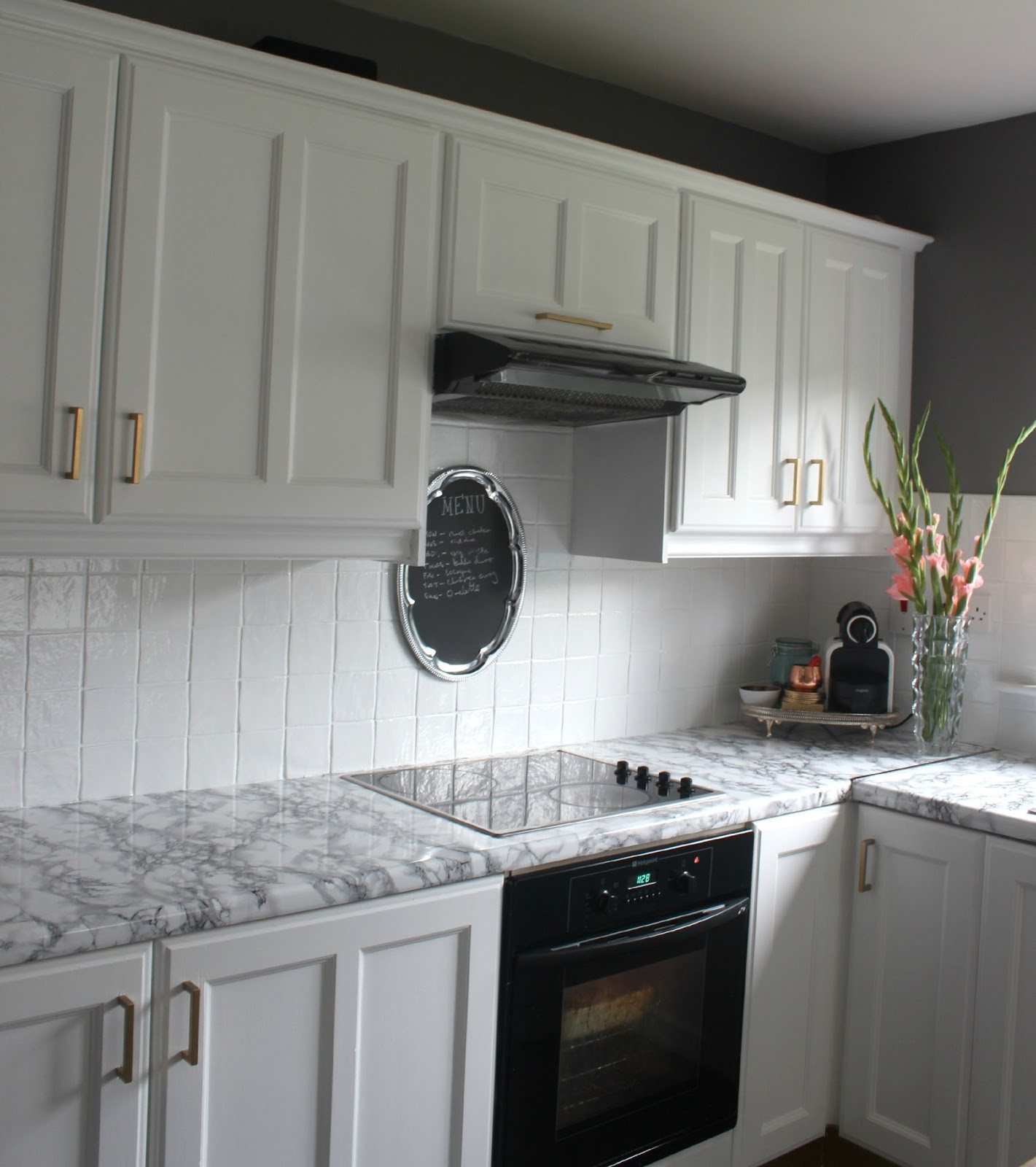 Best ideas about DIY Kitchen Tiling . Save or Pin painted tile backsplash cover those ugly tiles Make Do Now.