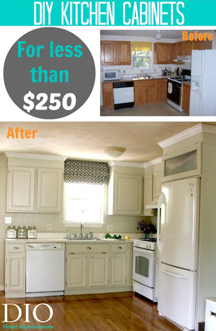 Best ideas about DIY Kitchen Updates . Save or Pin DIY Kitchen cabinets less than $250 DIO Home Improvements Now.