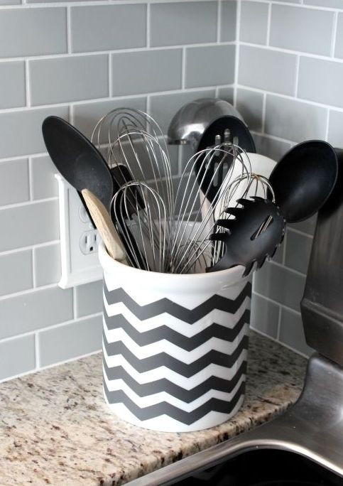 Best ideas about DIY Kitchen Utensil Holder . Save or Pin 26 Chevron Home Décor Ideas That Catch An Eye Shelterness Now.