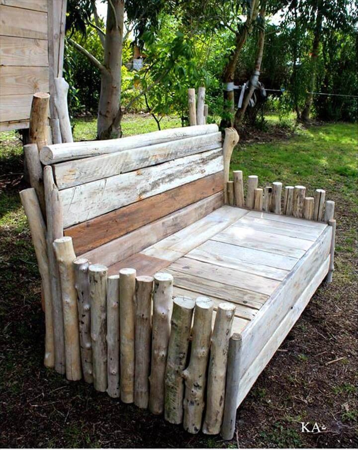 Best ideas about DIY Log Bench . Save or Pin 50 DIY Pallet Ideas That Can Improve Your Home Now.