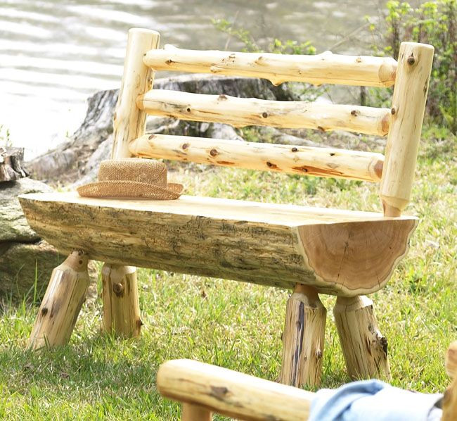 Best ideas about DIY Log Bench . Save or Pin Log Bench with Back DIY project for Hubby Now.