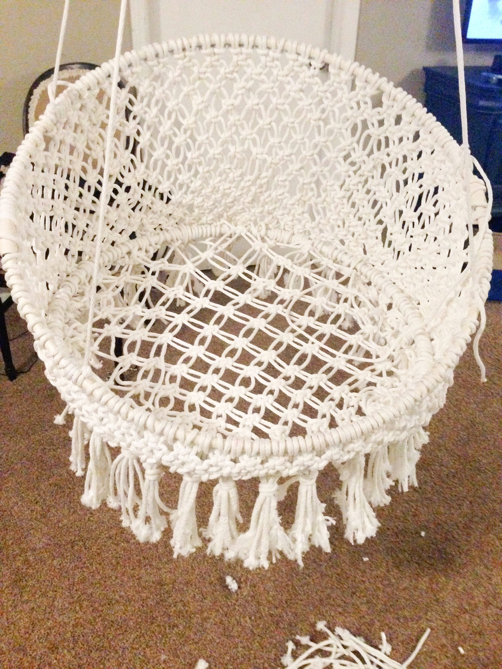Best ideas about DIY Macrame Chair . Save or Pin DIY Hanging Macramé Chair Now.