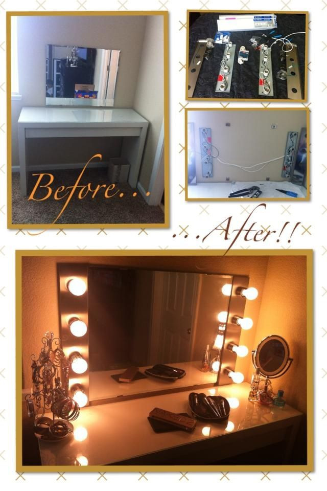Best ideas about DIY Makeup Mirrors With Lights . Save or Pin DIY Hollywood makeup vanity light mirror with click remote Now.