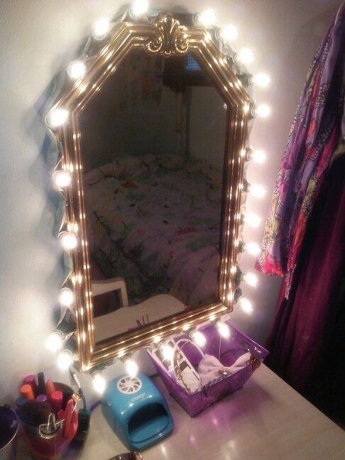 Best ideas about DIY Makeup Mirrors With Lights . Save or Pin DIY vanity mirror I made with a cheap goodwill mirror Now.