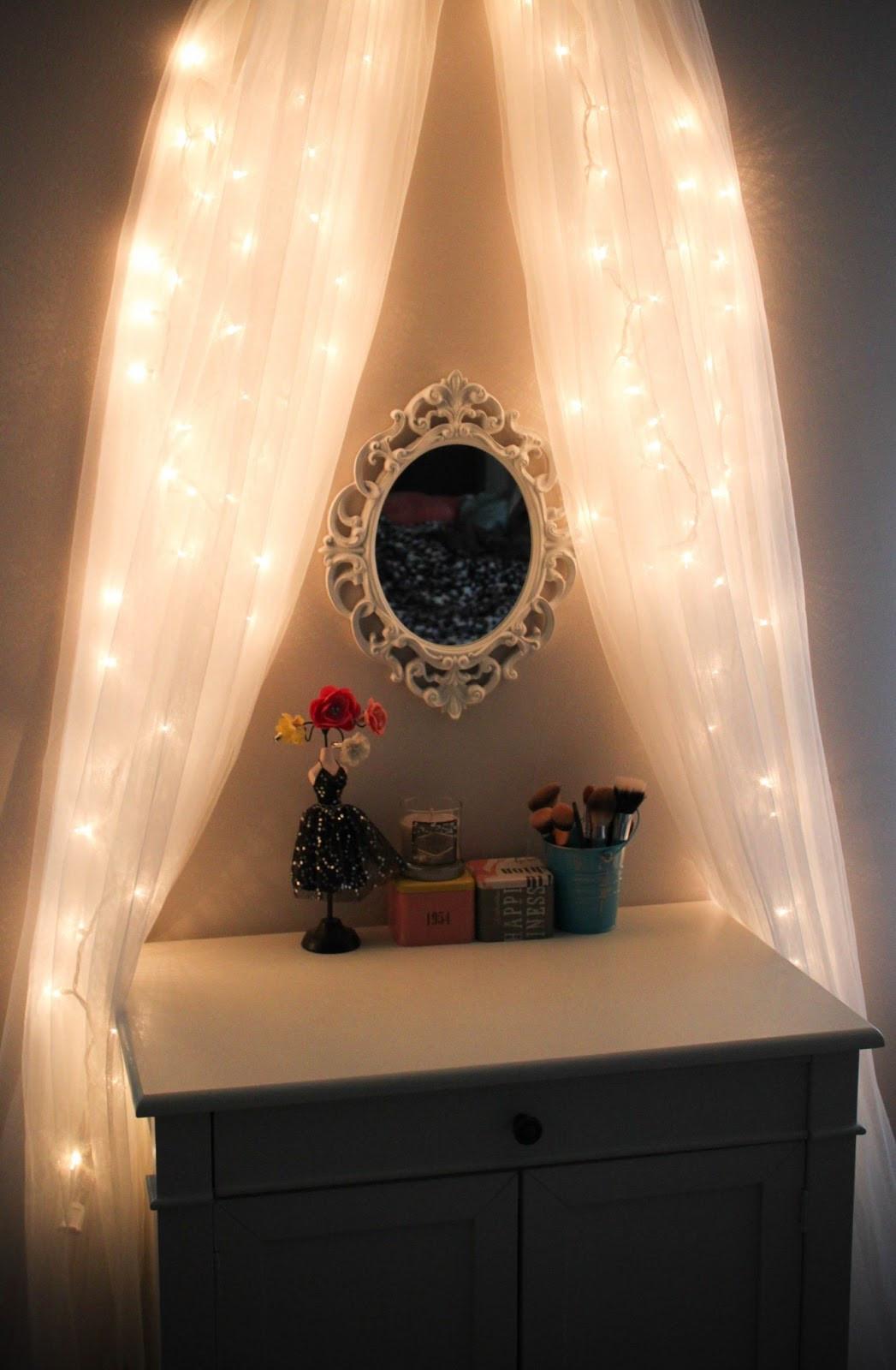 Best ideas about DIY Makeup Vanity Lighting . Save or Pin Leslie Loves Makeup DIY Fairy Light Vanity Area ♥ [original] Now.