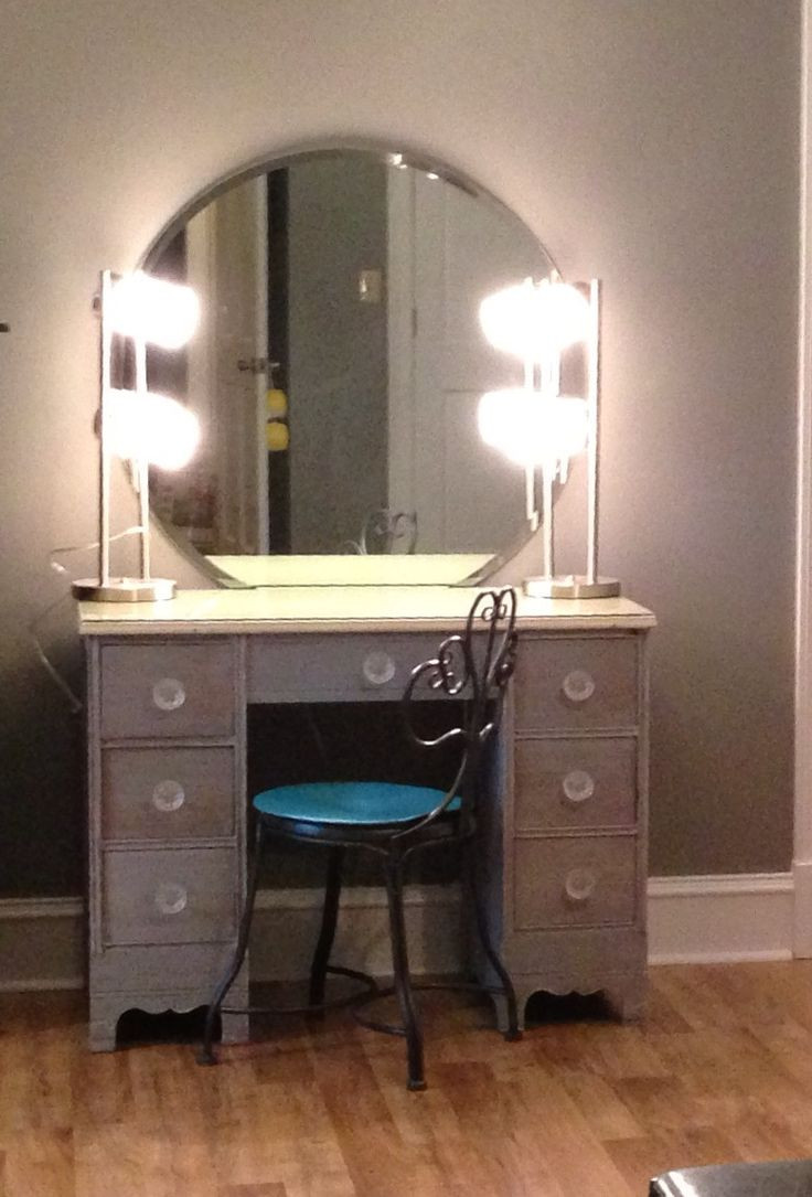 Best ideas about DIY Makeup Vanity Lighting . Save or Pin DIYmakeupvanity Refinish old desk 2 lamps from Wal Mart Now.