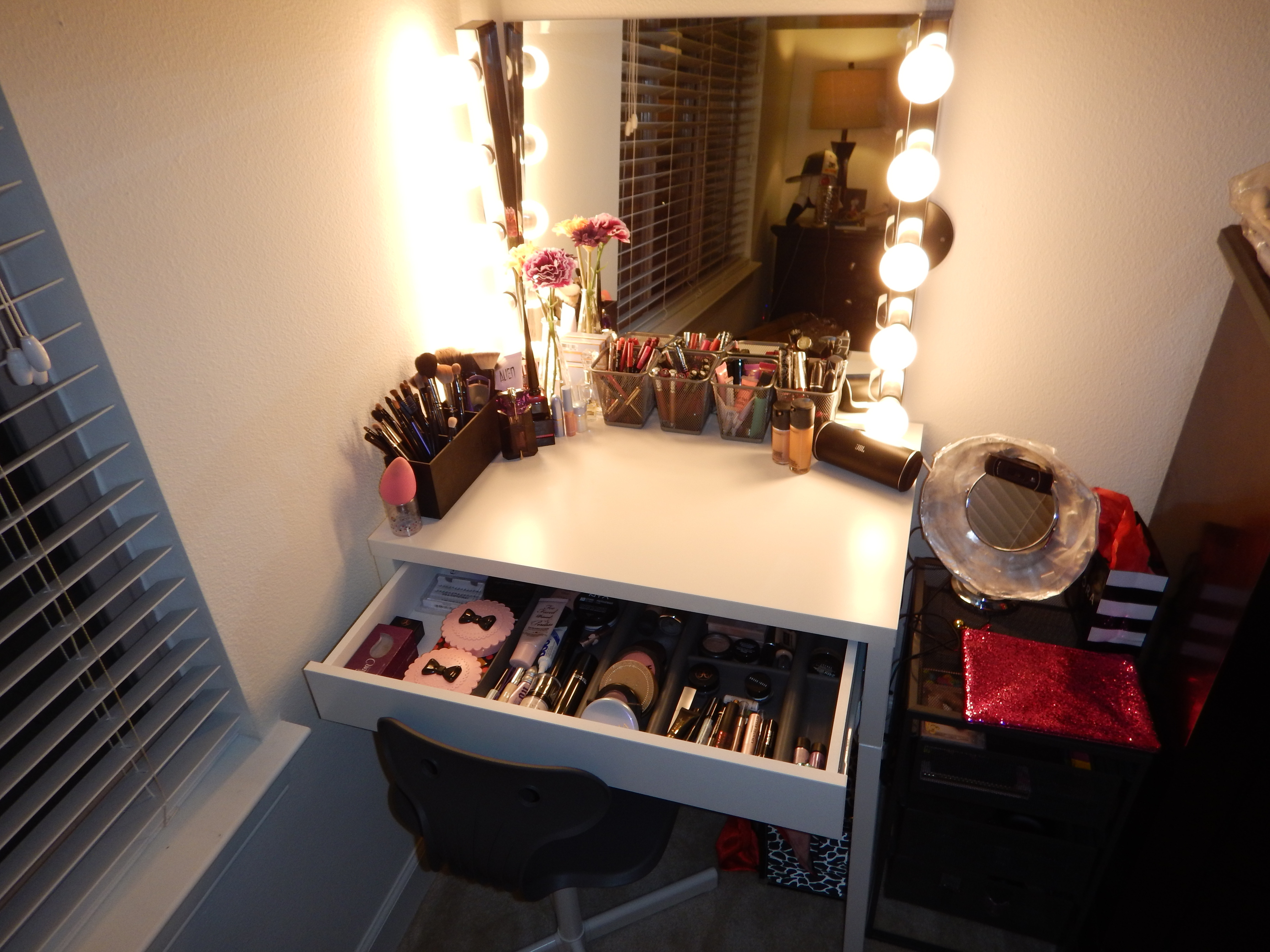 Best ideas about DIY Makeup Vanity Lighting . Save or Pin DIY Hollywood Style Makeup Vanity from IKEA Now.