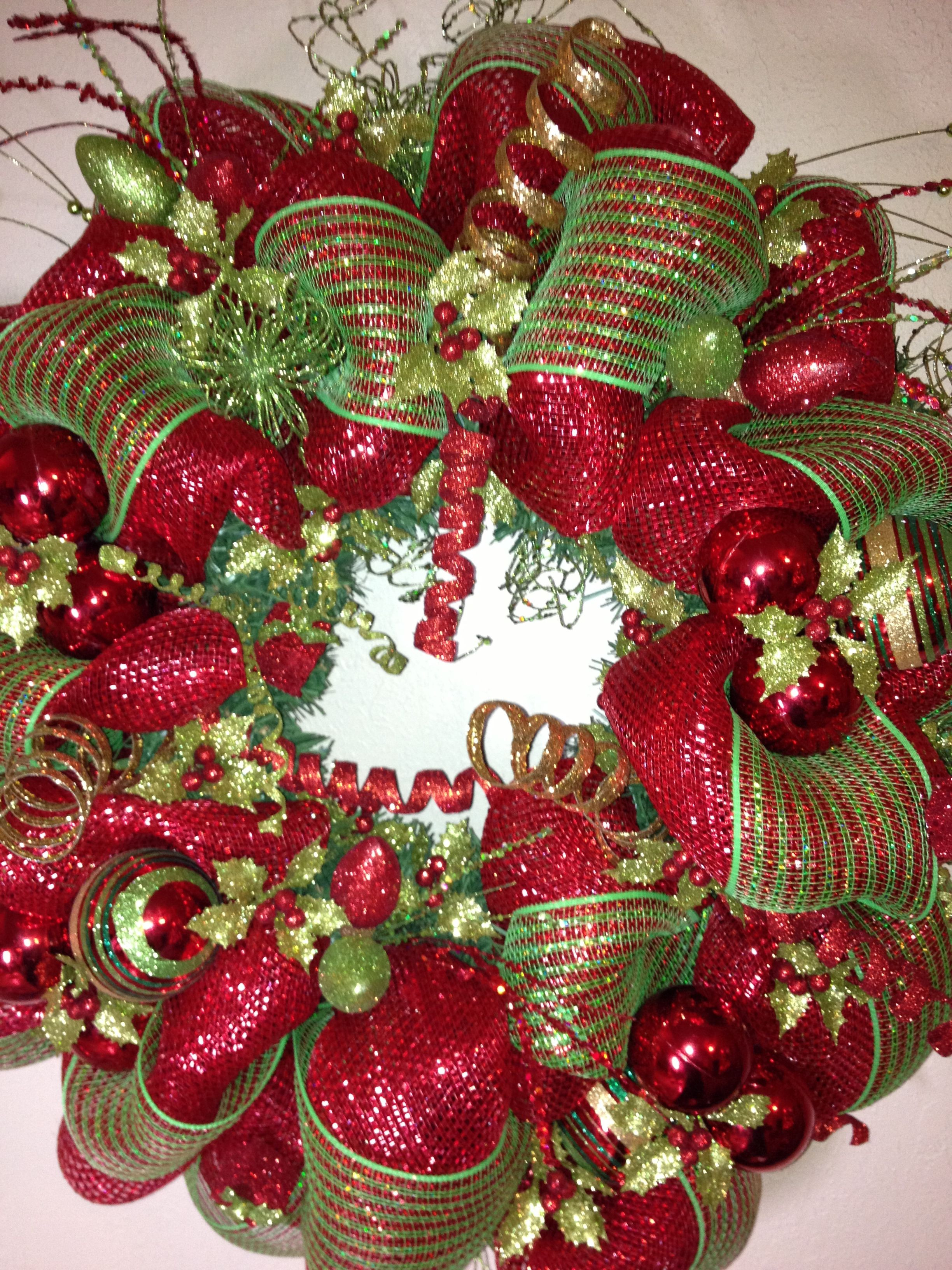 Best ideas about DIY Mesh Christmas Wreath . Save or Pin Love this wreath Would look perfect Now.