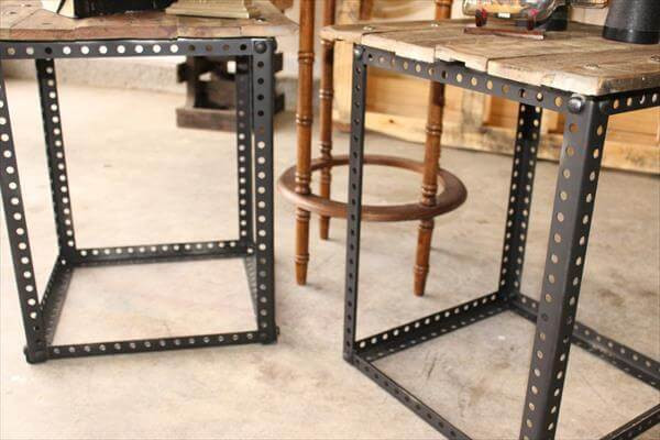 Best ideas about DIY Metal Table Legs . Save or Pin Metal Legs Pallet End Tables Now.