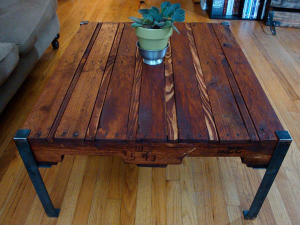 Best ideas about DIY Metal Table Legs . Save or Pin DIY Pallet Wood Table with Steel legs Now.