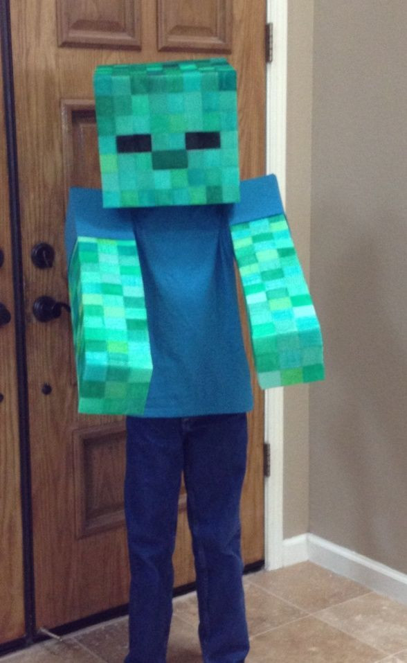 """Best ideas about DIY Minecraft Costume . Save or Pin Easy """"No Sew"""" Soft Minecraft Zombie Costume Now."""