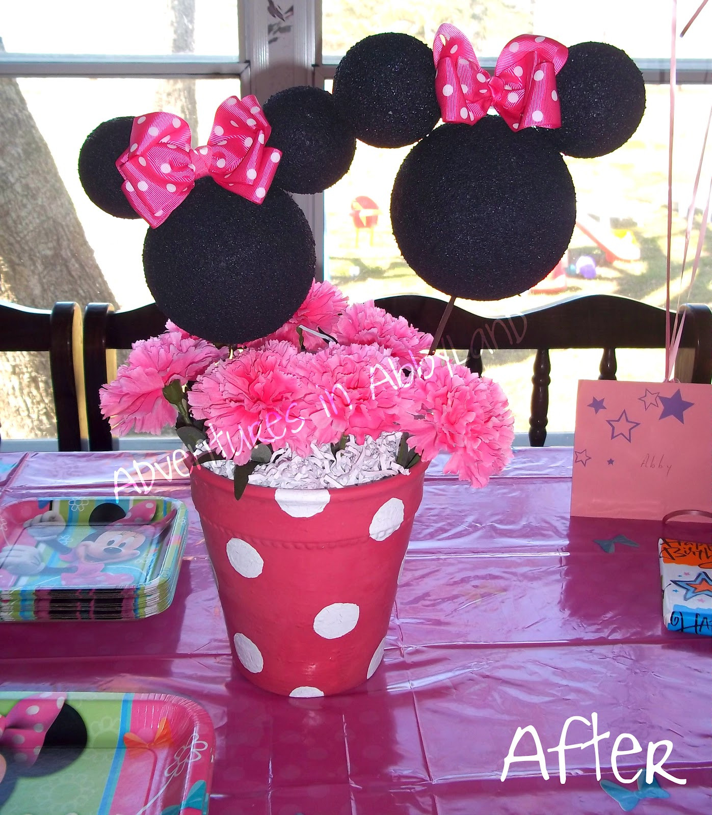 Best ideas about DIY Minnie Mouse Decorations . Save or Pin DIY Minnie Mouse Flowerpot Centerpiece Now.