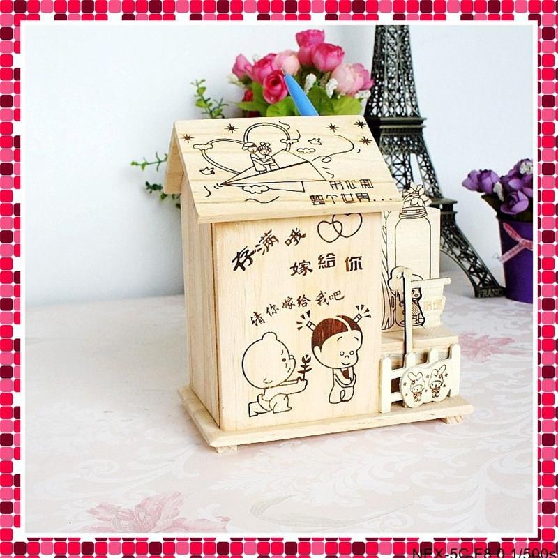 Best ideas about DIY Money Boxes . Save or Pin DIY Wooden Children Money Box House craft Pen case Model Now.