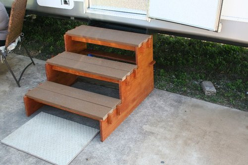 Best ideas about DIY Movable Stairs And Landing Small . Save or Pin Simple Portable RV Stairs So Easy a 84 Year Old Man Can Do It Now.
