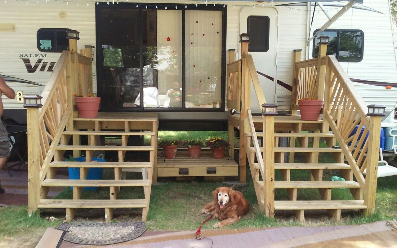 Best ideas about DIY Movable Stairs And Landing Small . Save or Pin Stepsnding portable platform rv deck plans Now.
