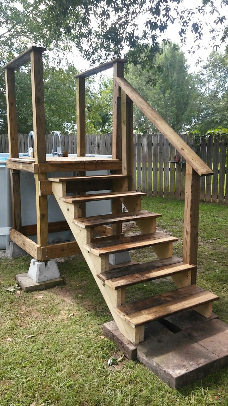 Best ideas about DIY Movable Stairs And Landing Small . Save or Pin Pool access platform w repurposed pool ladder going into Now.