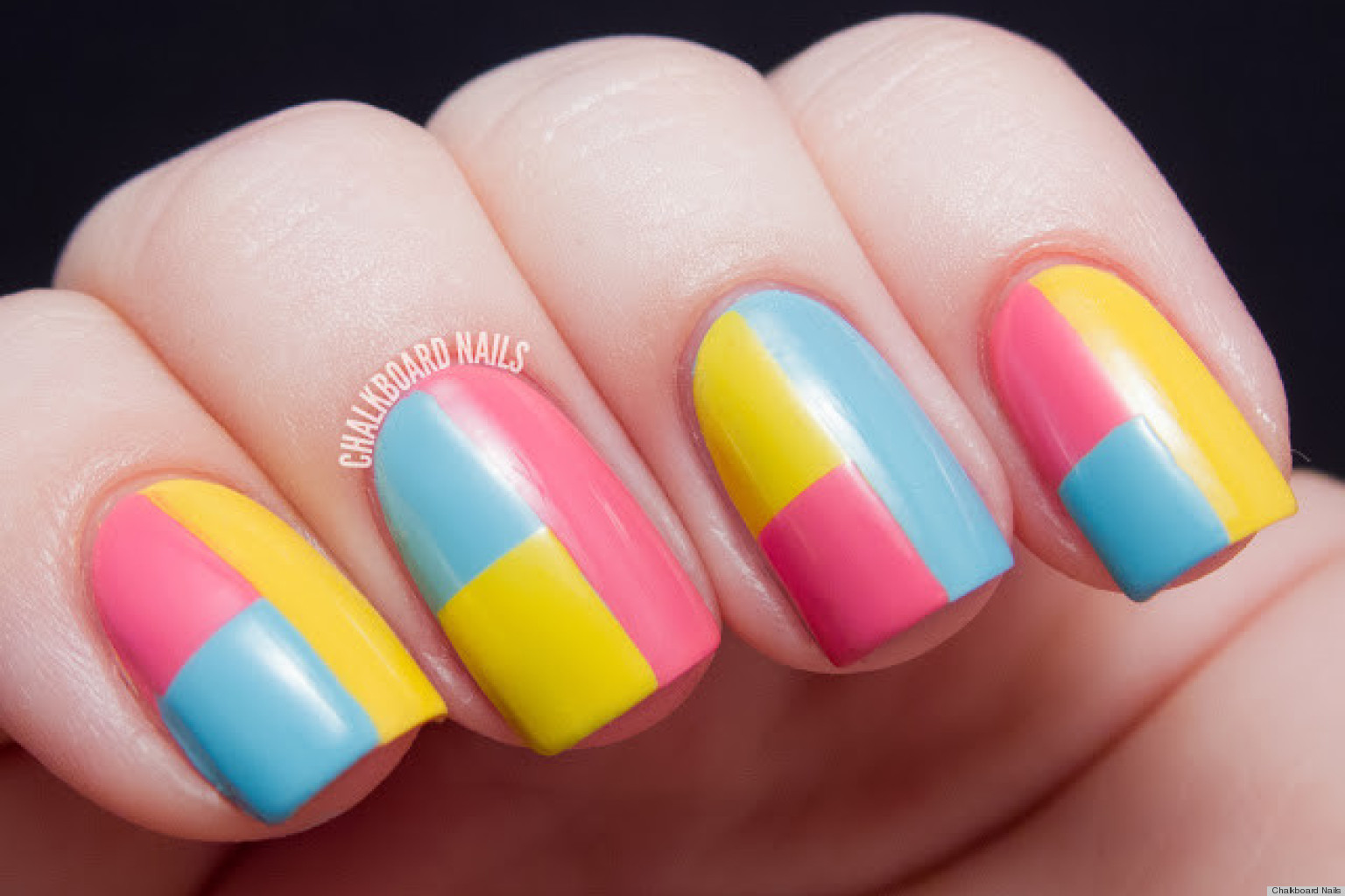 Best ideas about DIY Nail Art . Save or Pin DIY Nail Art A Colorblock Manicure With Mod Appeal Now.