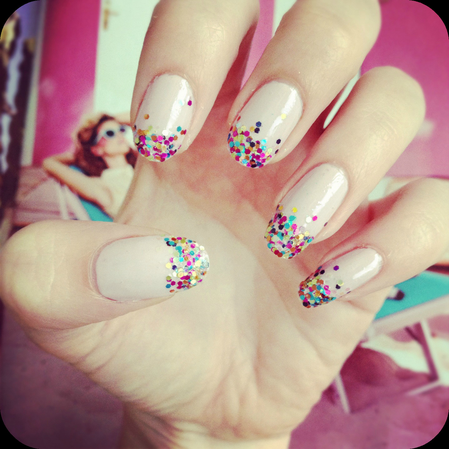Best ideas about DIY Nail Art . Save or Pin simple glitter fade nail art DIY Now.