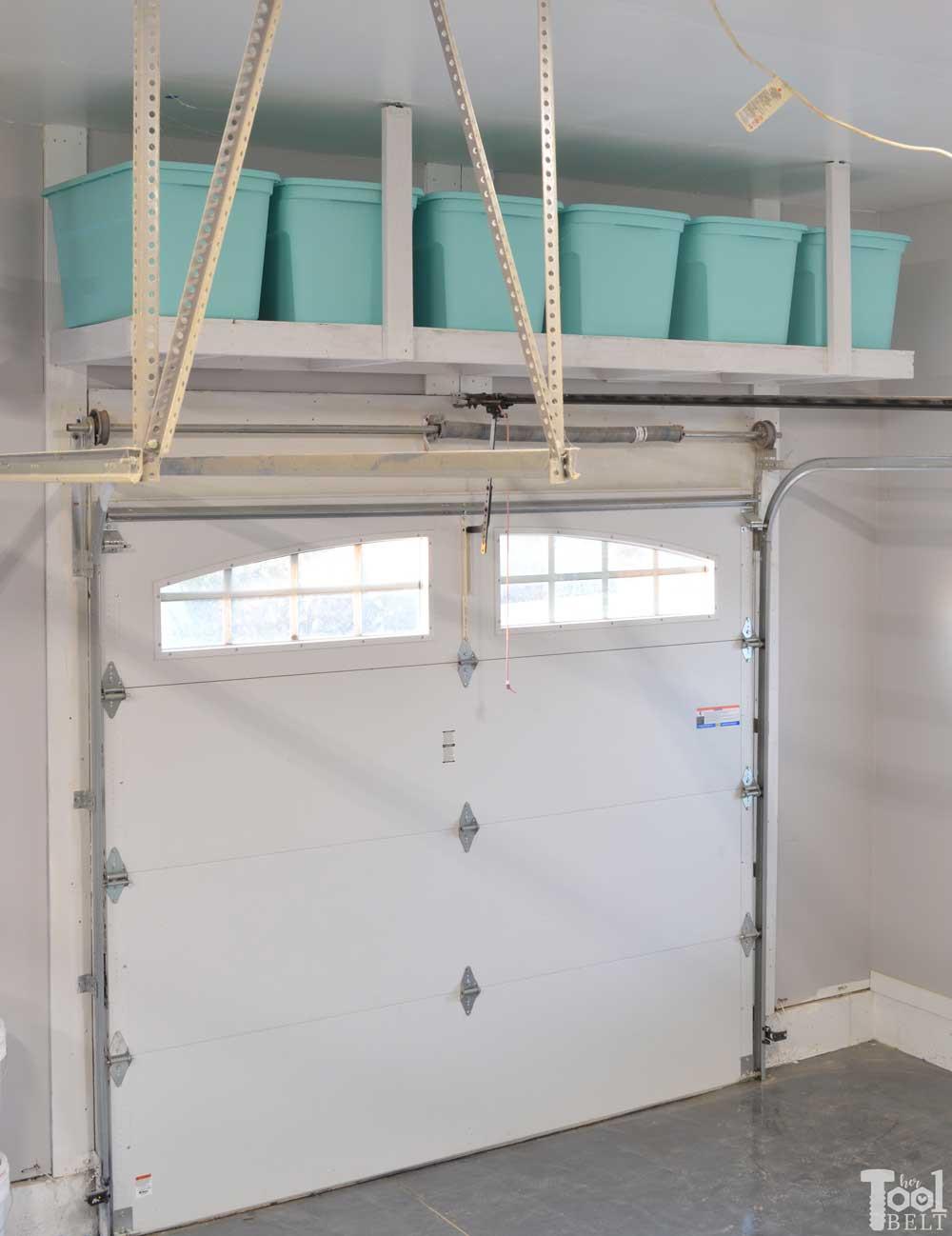 Best ideas about DIY Overhead Garage Storage Plans . Save or Pin Overhead Garage Storage Shelf Her Tool Belt Now.