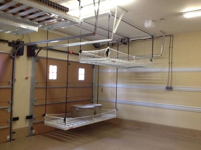 Best ideas about Diy Overhead Garage Storage Pulley System . Save or Pin traditional garage and shed by Inviting Spaces I love this Now.