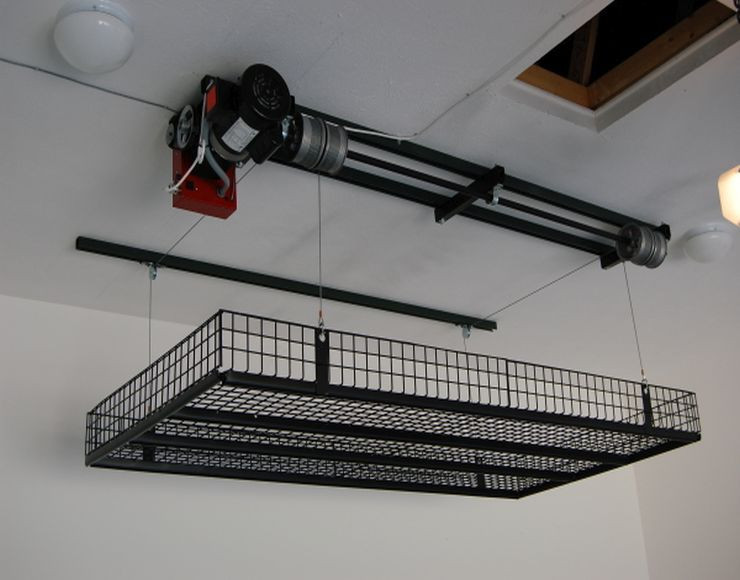 Best ideas about Diy Overhead Garage Storage Pulley System . Save or Pin just be lazy & put a winch up Suspended garage Now.