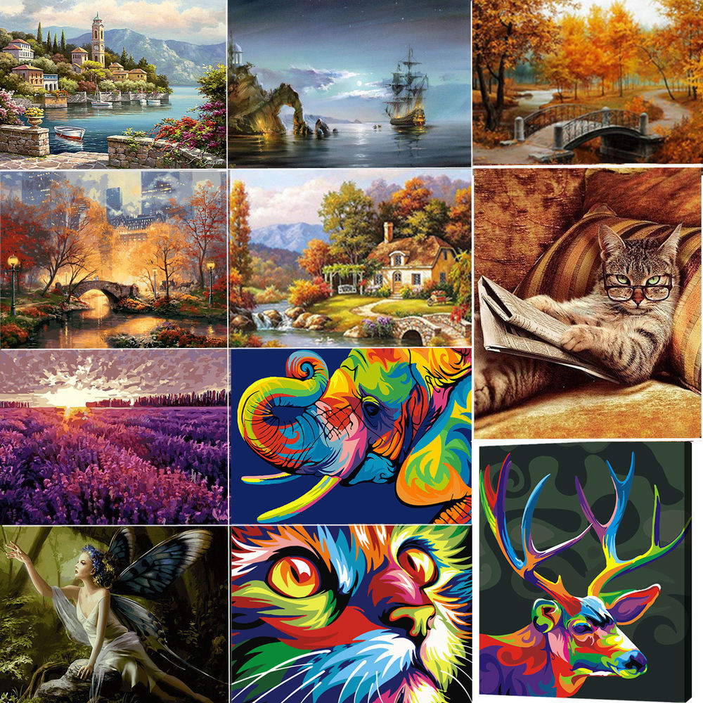 Best ideas about DIY Paint By Numbers . Save or Pin Acrylic Paint By Number Kit Scenery Oil Painting DIY Home Now.