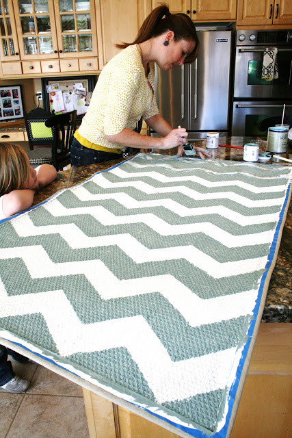 Best ideas about DIY Painted Rug . Save or Pin Chevron Painted Rug from IKEA Tutorial Now.