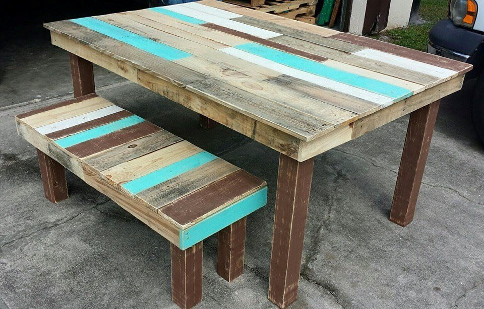 Best ideas about DIY Pallet Dining Table . Save or Pin Pallet Dining Table and Bench Set Now.