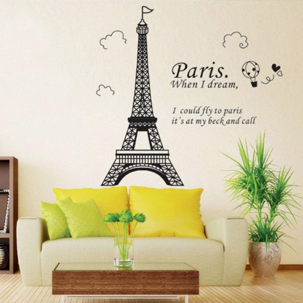 Best ideas about DIY Paris Room Decor . Save or Pin Bedroom Home Decor Removable Paris Eiffel Tower Art Decal Now.