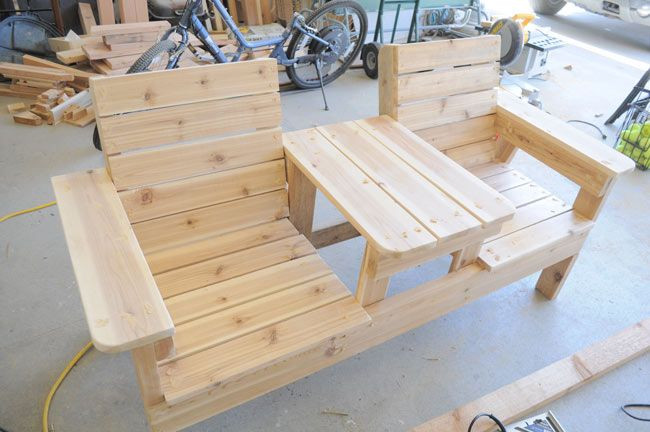 Best ideas about DIY Patio Benches . Save or Pin How to Build a Double Chair Bench with Table – Free Plans Now.