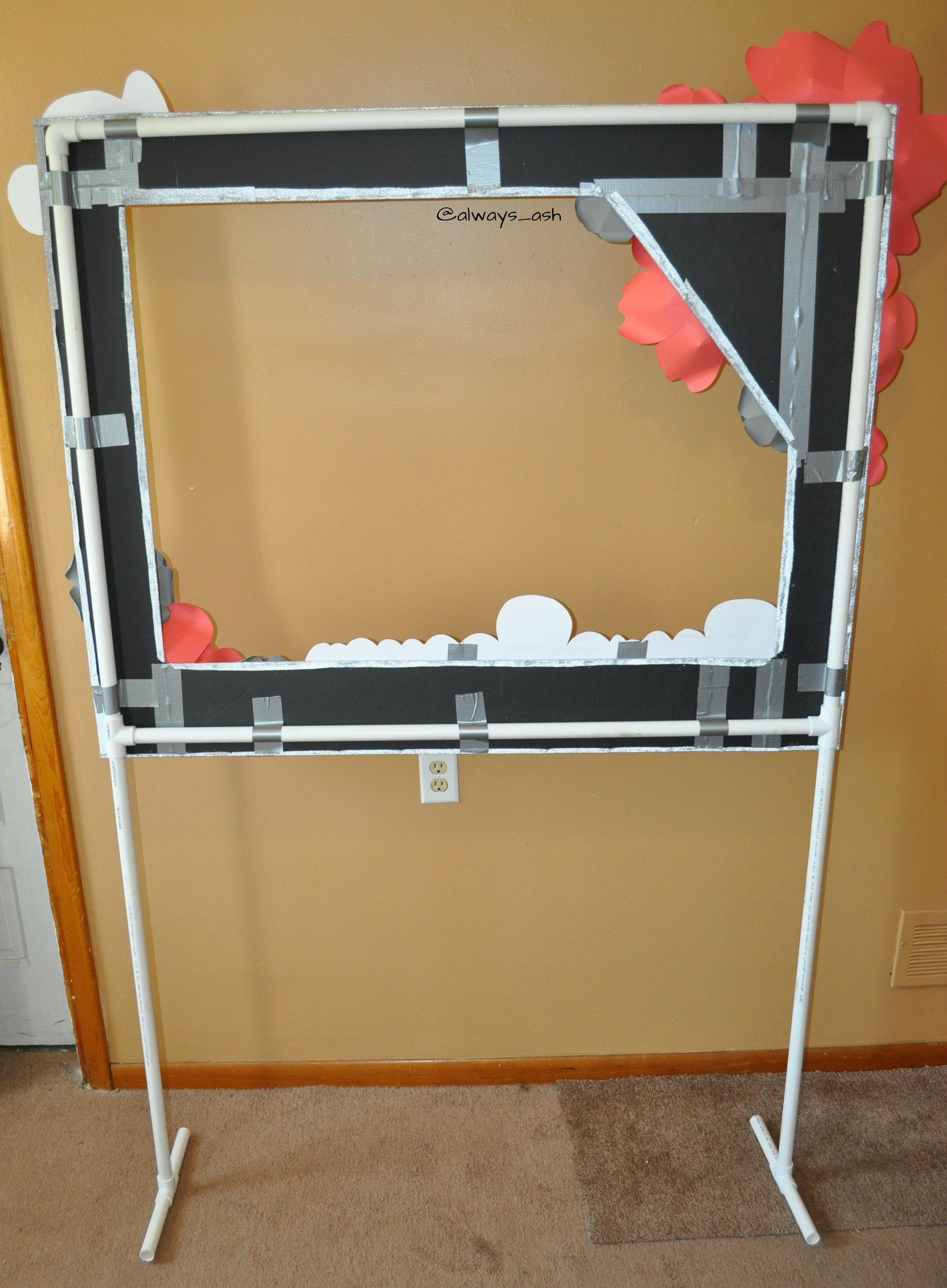 Best ideas about DIY Photo Booth Stand . Save or Pin The back of photo booth frame on pvc pipe stand duck Now.