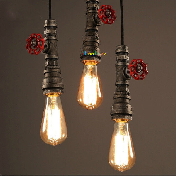 Best ideas about DIY Pipe Light Fixture . Save or Pin Loft Retro DIY Industrial Iron Pipe Vintage Ceiling Light Now.
