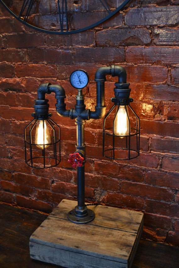 Best ideas about DIY Pipe Lights . Save or Pin Industrial Pipe Lamp Pipe Light Table Lamp by WestNinthVintage Now.