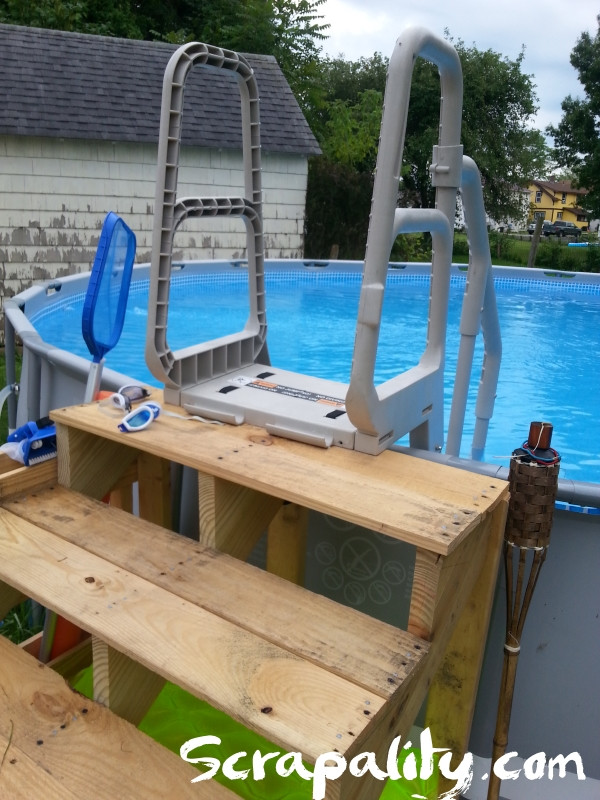 Best ideas about DIY Pool Steps . Save or Pin Pool Steps Made from Pallets with Noodle Storage Scrapality Now.