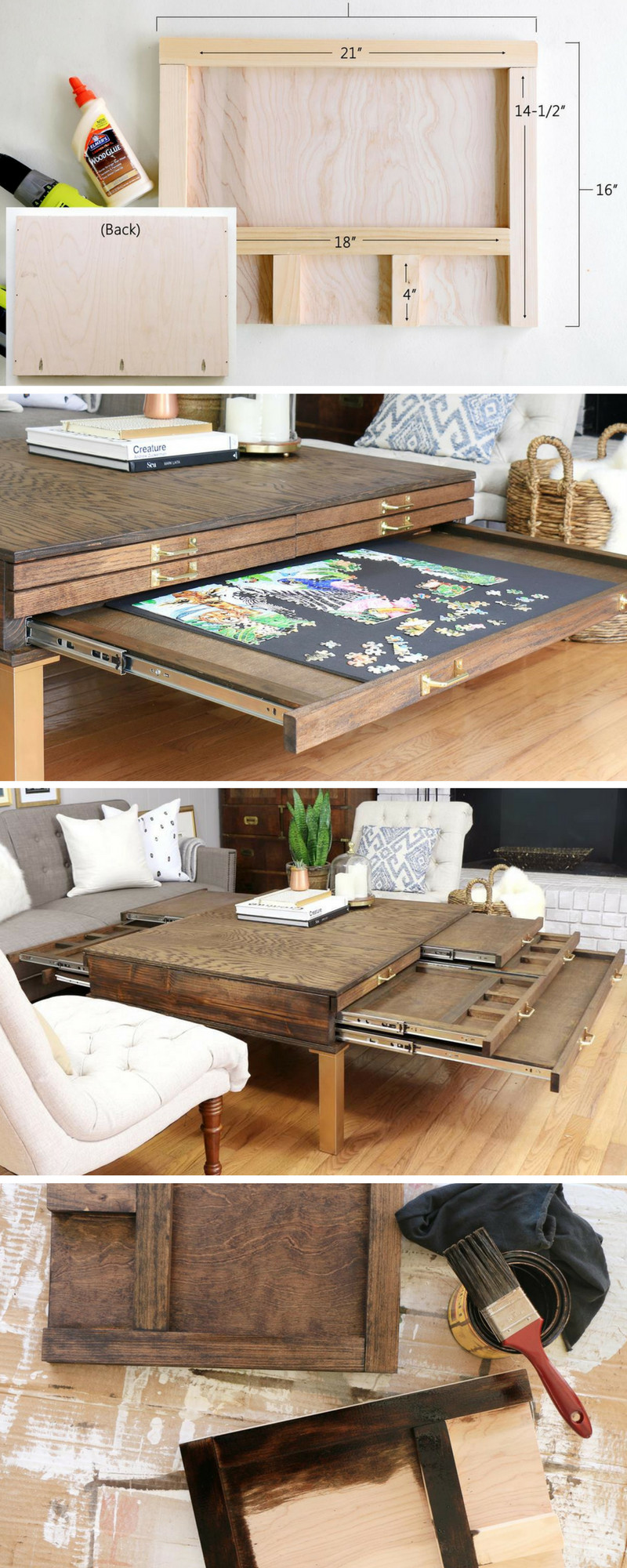 Best ideas about DIY Project Plans . Save or Pin How to Build a DIY Coffee Table with Pullouts for Board Now.