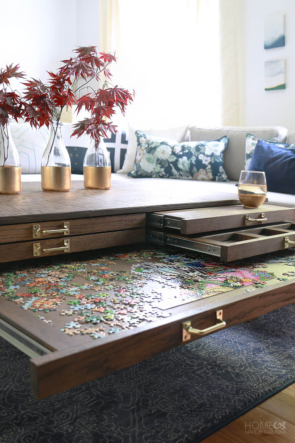 Best ideas about DIY Puzzle Table . Save or Pin Living Room Makeover Reveal Home Made By Carmona Now.