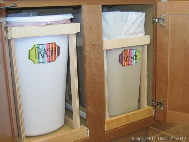 Best ideas about DIY Recycling Bins . Save or Pin DIY pull out trash can and recycling bin Now.