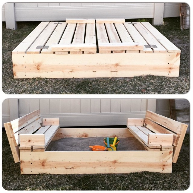 Best ideas about DIY Sandbox With Cover . Save or Pin DIY Sandbox with Fold Out Seats Mrs Happy Homemaker Now.