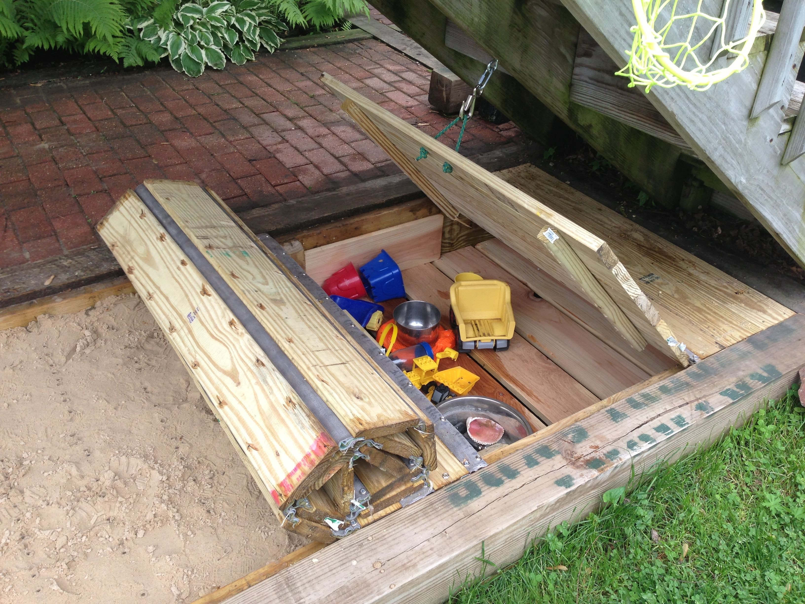 Best ideas about DIY Sandbox With Cover . Save or Pin Retractable sandbox cover w toy box Now.