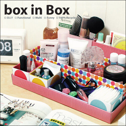 Best ideas about DIY Shoe Box Desk Organizer . Save or Pin DIY Cardboard Storage Tidy Box Cosmetic Desk Full Design Now.