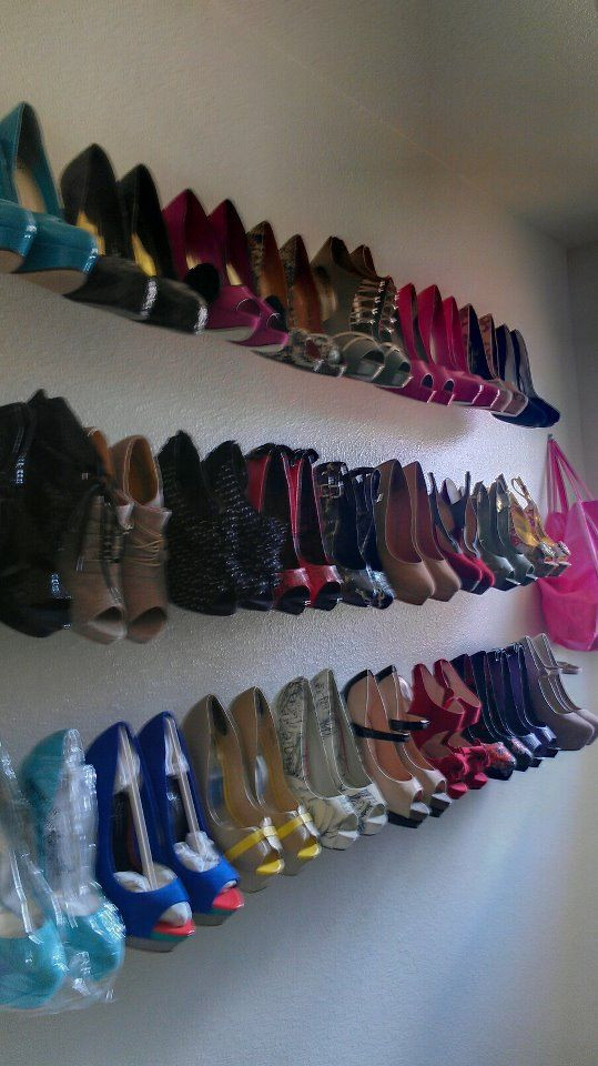 Best ideas about DIY Shoe Organizer For Closet . Save or Pin DIY shoe racks I bought $3 curtain rods from home depo Now.